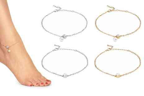 Groupon Goods Global GmbH - One or Two Philip Jones Pearl Ankle Bracelets Made with Crystal from Swarovski - Save 90%