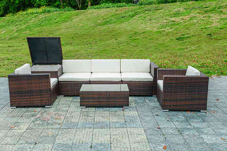 Esenti - Seven piece modular rattan set with storage choose black or brown - Save 67%
