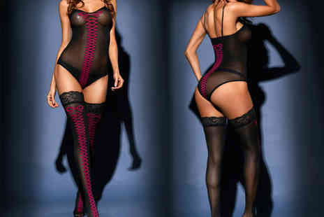 Treats on Trend - Sheer mesh two piece lingerie set - Save 80%