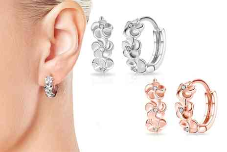Groupon Goods Global GmbH - One or Two Pairs of Philip Jones Flower Hoop Earrings with Crystals from Swarovski - Save 87%