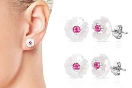 Groupon Goods Global GmbH - One or Two Pairs of Philip Jones Mother of Pearl Earrings with Crystals from Swarovski - Save 83%