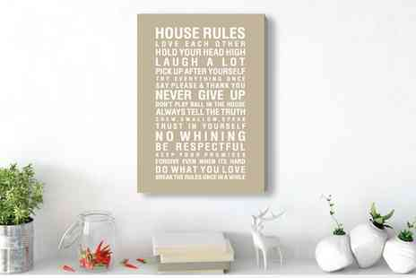 Groupon Goods Global GmbH - House Rules Printed Canvas in Choice of Colour and Size - Save 64%