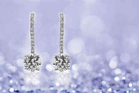GameChanger Associates - Pair of 18k white gold plated clear crystal earrings - Save 92%