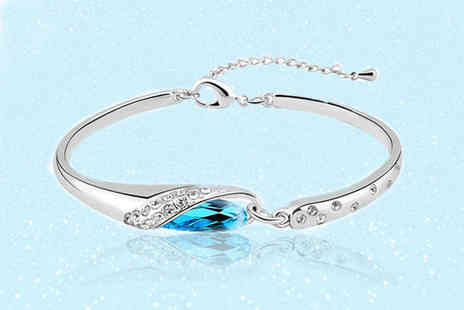 Your Ideal Gift - Cinderella inspired blue bracelet made with crystals from Swarovski - Save 82%
