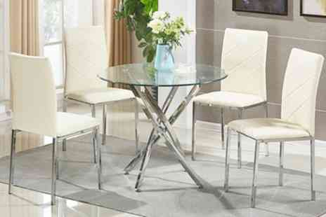 Groupon Goods Global GmbH - Round Dining Table and Four Cream or Black Chairs With Free Delivery - Save 0%