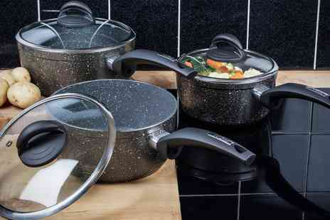 Groupon Goods Global GmbH - Tower Three Piece Forged Saucepan Set - Save 68%