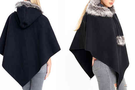 Verso Fashion - Hooded Pom Pom Poncho Choose from 3 Colours - Save 57%
