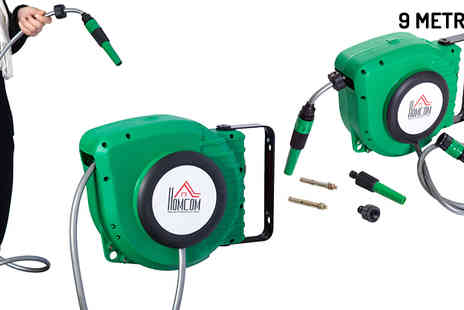 Mhstar - Retractable Wall Mounted Garden Hose Reel 2 Lengths - Save 50%