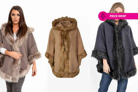 Verso Fashion - Faux fur lined hooded cape choose from three colours - Save 64%
