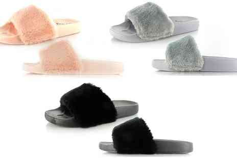 Groupon Goods Global GmbH - Womens Fluffy Sliders in Choice of Colour - Save 0%