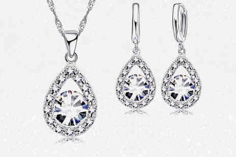 Your Ideal Gift - Crystal and created sapphire drop set - Save 82%
