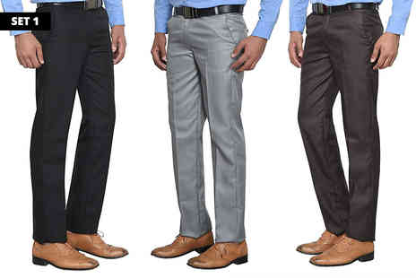 Morag Online - Three pack of mens formal trousers - Save 66%