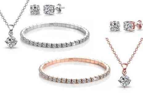 Groupon Goods Global GmbH - One or Two Philip Jones Three Piece Solitaire Sets with Crystals from Swarovski - Save 86%