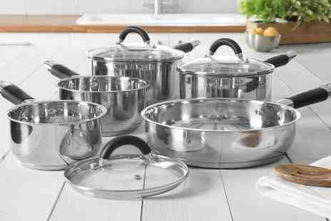 Groupon Goods Global GmbH - Tower Five Piece Stainless Steel Pan Set - Save 73%