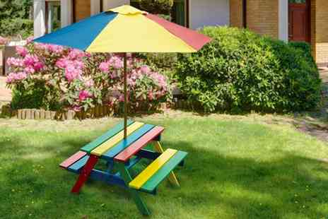 Vivo Mounts - Childrens rainbow picnic bench with parasol - Save 76%