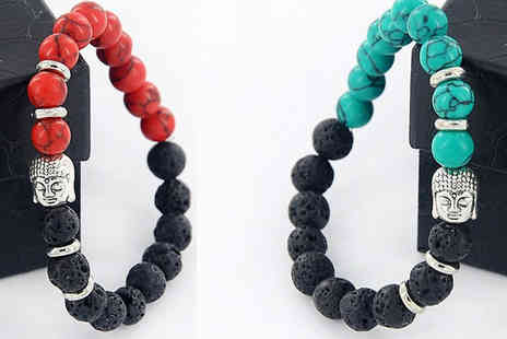 Romatco - Dual Stone Buddha Bracelet Choose from 4 Colours - Save 83%