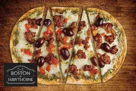 Boston & Hawthorne - Two pizzas and a bottle of wine for two or four pizzas and two bottles of wine for four or five tapas dishes, two pizzas and a bottle of wine for two - Save 56%