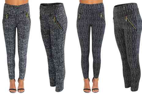 Groupon Goods Global GmbH - Tweed and Textured Print Womens Jeggings - Save 0%