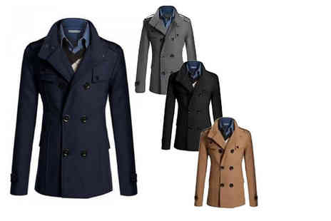 Bluebell Retail - Mens slim fit military coat choose from four colours - Save 70%