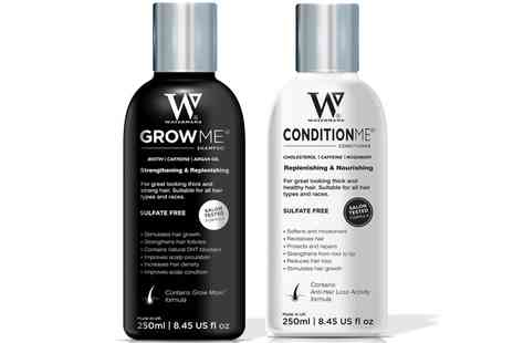 Groupon Goods Global GmbH - Watermans Grow Me Shampoo or/and Condition Me Conditioner with Optional Elixir Boosting Hair Growth Serum - Save 23%