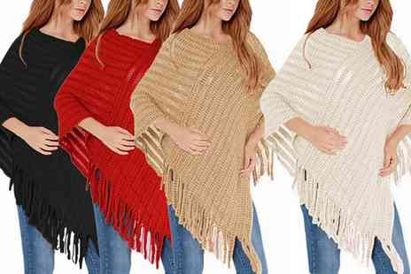 Groupon Goods Global GmbH - Fringe Knitted Poncho in Choice of Colour - Save 0%