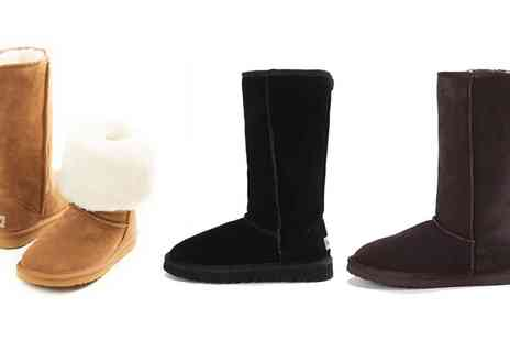 Groupon Goods Global GmbH - Womens Suede Tall Boots Lined with Merino Wool in Choice of Colour - Save 78%