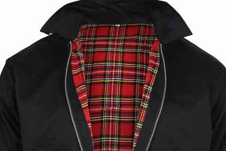 Hawt Online - Mens Lightweight Tartan Lined Harrington Jacket Available in 3 Colours - Save 70%