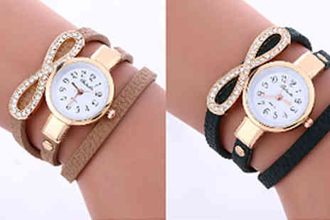 India Rose Designs - Simulated Crystal Wrap Watch Available in 4 Colours - Save 66%