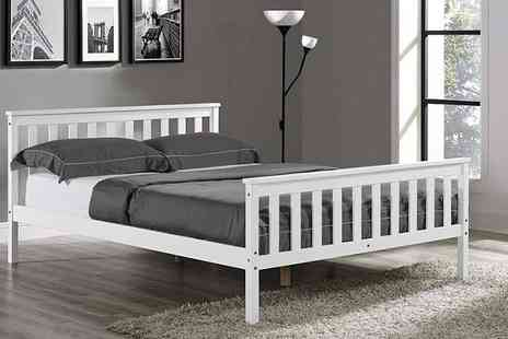 jia Interiors - Single or double contemporary white wooden bed - Save 77%