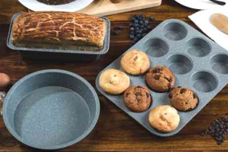 Groupon Goods Global GmbH - Salter Marble Collection Loaf Pan on 12 To Cup Muffin Tray and Round Baking Pan Set - Save 49%