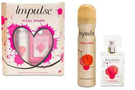 Groupon Goods Global GmbH - One, Two or Four Impulse Vital Spark True Love Eau de Toilette and Body Fragrance Gift Sets - Save 69%