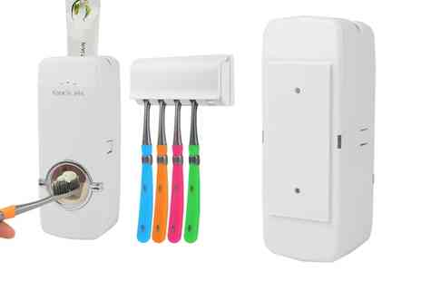 Groupon Goods Global GmbH - Automatic Toothpaste Dispenser and Toothbrush Holder Set - Save 20%