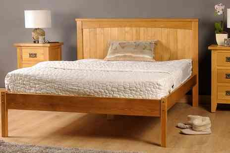 Groupon Goods Global GmbH - Amprezzo Handmade Wooden Bed with Optional Mattress With Free Delivery - Save 68%
