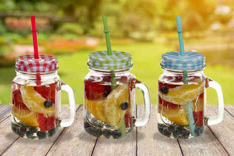 SHS Trading - Set of three or six Mason jar glasses - Save 71%