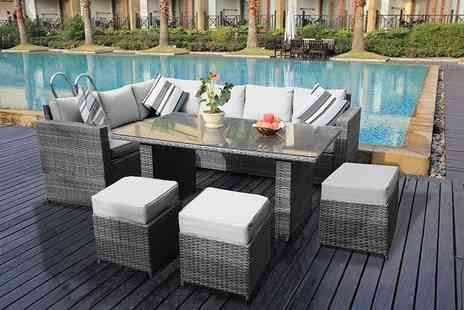 Dreams Living - Nine seater rattan dining sofa set choose from three colours - Save 45%