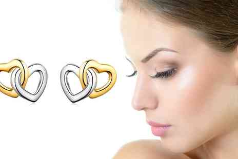 Groupon Goods Global GmbH - Sreema London Heart Silver Stud Earrings - Save 86%