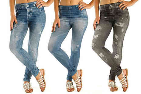 E Bigsales - 3 Pack of Ripped Look Jeggings Available in Sizes 8 To 20 - Save 75%