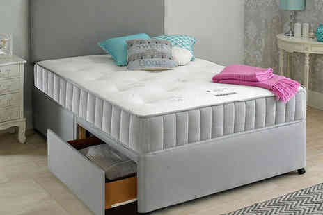 Giomani Designs - Single Oslo grey fabric divan bed set with headboard and mattress choose from five sizes, upgrade to include two or four drawers - Save 76%
