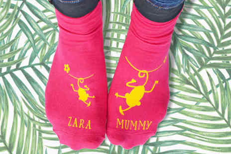 Solesmith - Pair of personalised cheeky monkey and mummy socks - Save 64%