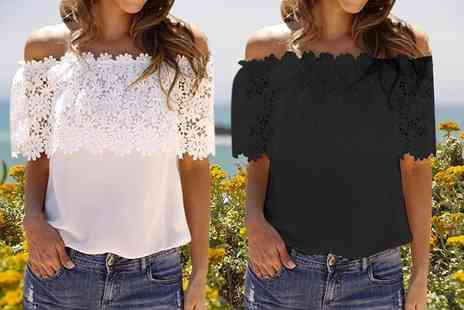 Treats on Trend - Lace bardot top choose from two colours - Save 68%
