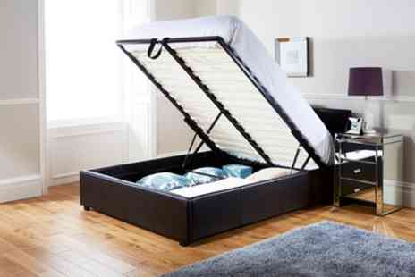 Groupon Goods Global GmbH - End Lift Ottoman Storage Bed Frame in Choice of Colour with Optional Mattress With Free Delivery - Save 52%
