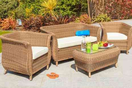 Groupon Goods Global GmbH - Cozy Bay Jamaica Rattan Effect Four Seater Lounge Set With Free Delivery - Save 25%