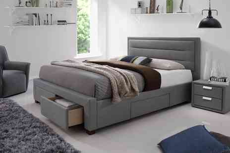 Groupon Goods Global GmbH - Double or King Colchester Four Drawer Bed Frame with Optional Mattress With Free Delivery - Save 61%
