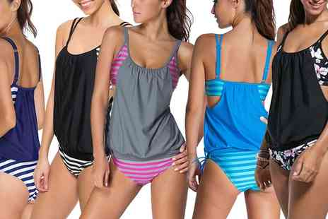 Groupon Goods Global GmbH - Stripe and Floral Print Tankini in Choice of Design - Save 0%