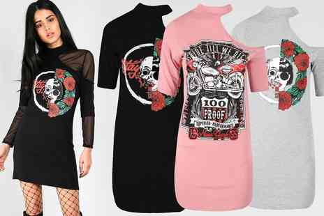 Groupon Goods Global GmbH - Be Jealous Half Skull Off Shoulder Tshirt Dress in Choice of Colour - Save 68%