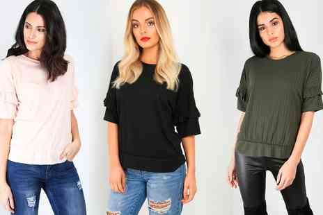 Groupon Goods Global GmbH - Ribbed Frill Sleeve Tops - Save 47%