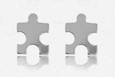Birdells - Pair of jigsaw stud earrings - Save 86%