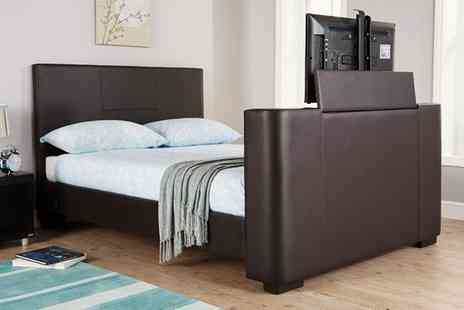 Groupon Goods Global GmbH - Newark Double or King Size Electric TV Bedstead with Optional Bonnell Mattress With Free Delivery - Save 33%