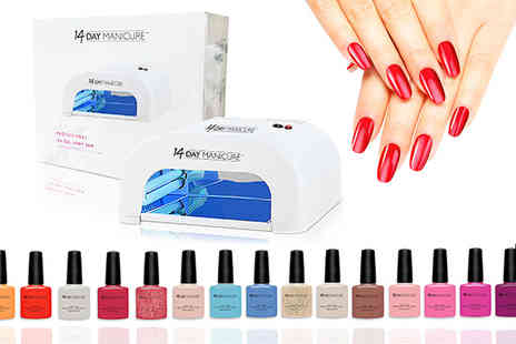 14 Day Manicure - Set of 10 gel nail polishes with UV lamp - Save 75%