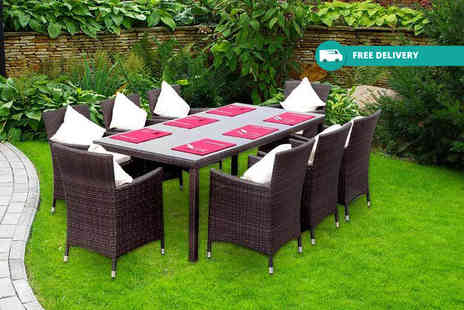 Giomani Designs - Brown eight seater rattan dining set Plus Delivery is Included - Save 64%